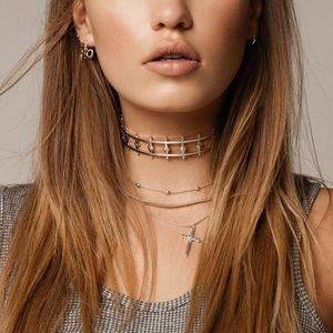 LUV AJ Revel Starburst Choker - Plated Gold
